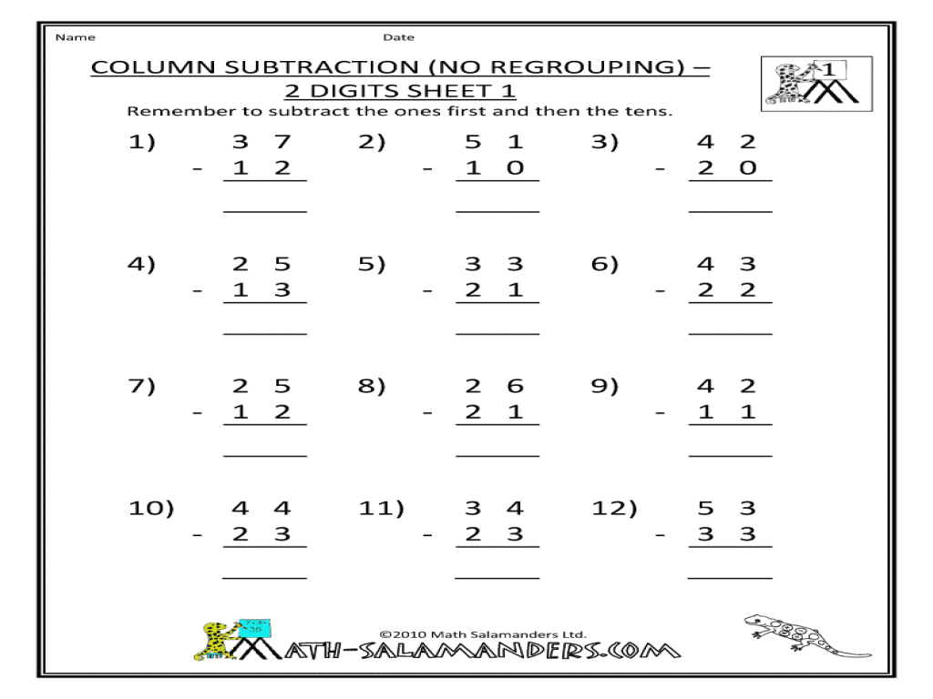 medium resolution of Column Subtraction (No Regrouping) - 2 Digits Sheet 1 Worksheet for 2nd -  3rd Grade   Lesson Planet