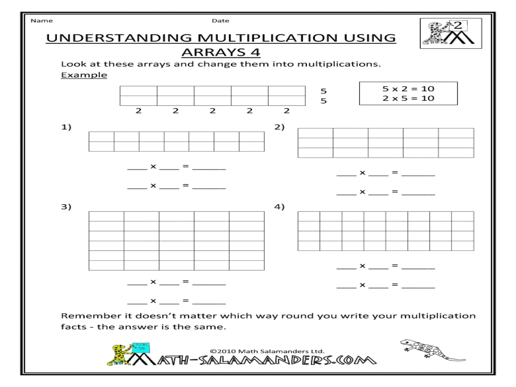 Understanding Multiplication Using Arrays 4 Worksheet for 2nd - 4th Grade    Lesson Planet [ 768 x 1024 Pixel ]