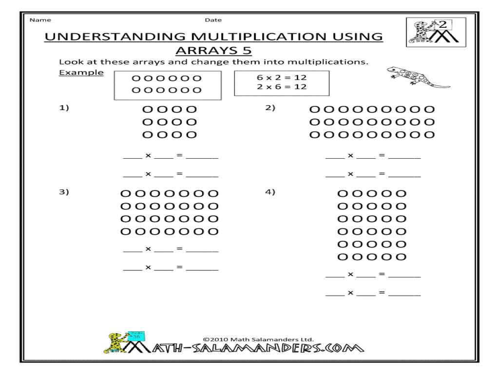 medium resolution of Understanding Multiplication Using Arrays 5 Worksheet for 3rd - 4th Grade    Lesson Planet