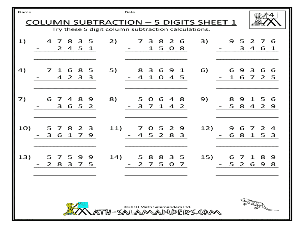 small resolution of Column Subtraction-5 Digits
