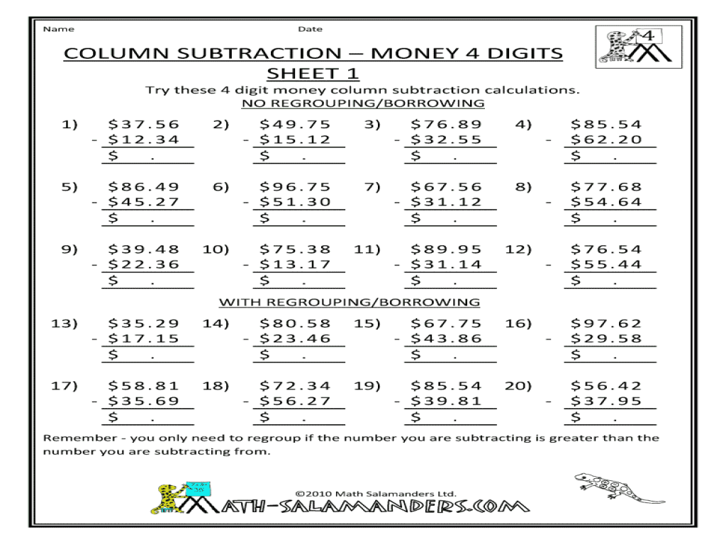 hight resolution of Column Subtraction - Money 4-Digits Sheet 1 Worksheet for 3rd - 4th Grade    Lesson Planet
