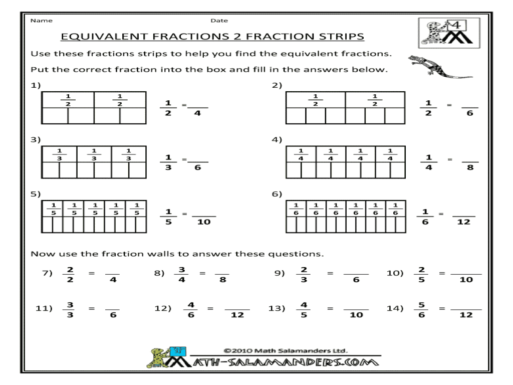 small resolution of Equivalent Fractions-Fraction Strips Worksheet for 3rd - 4th Grade   Lesson  Planet