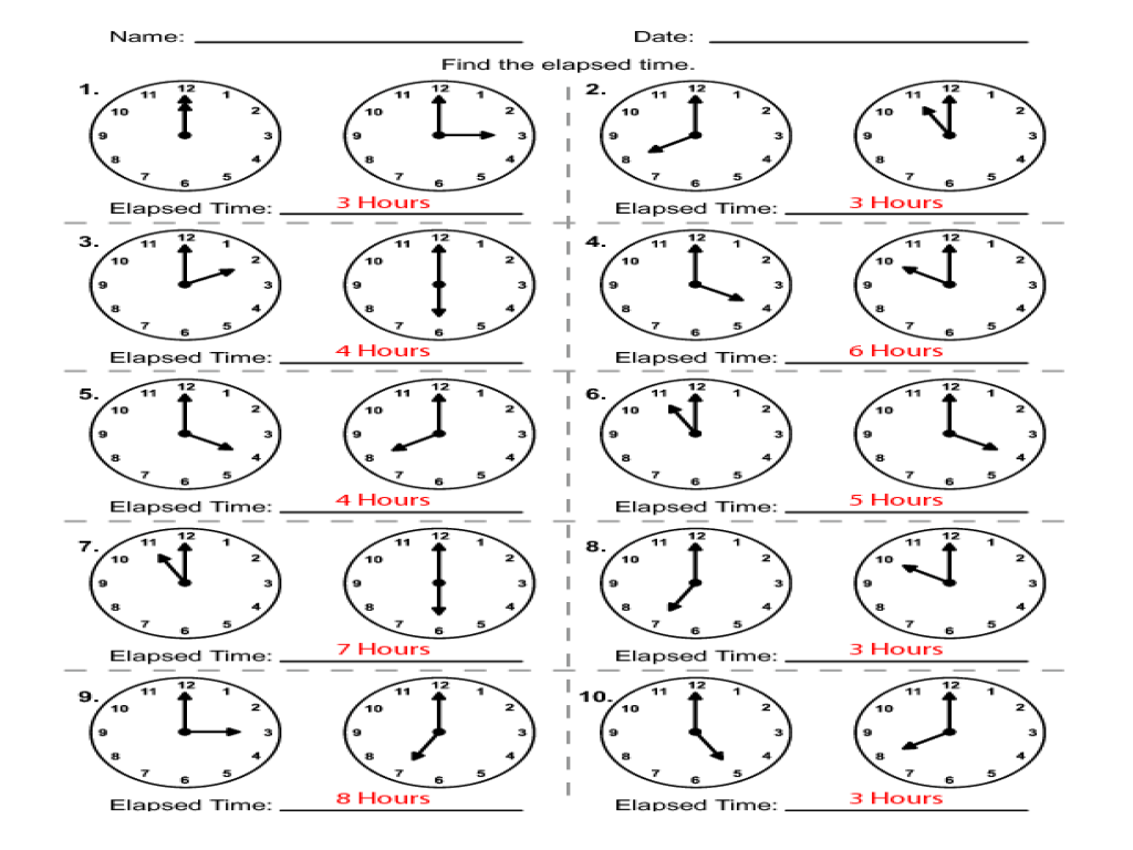 Elapsed Time: To The Hour Worksheet for 1st - 2nd Grade   Lesson Planet [ 768 x 1024 Pixel ]