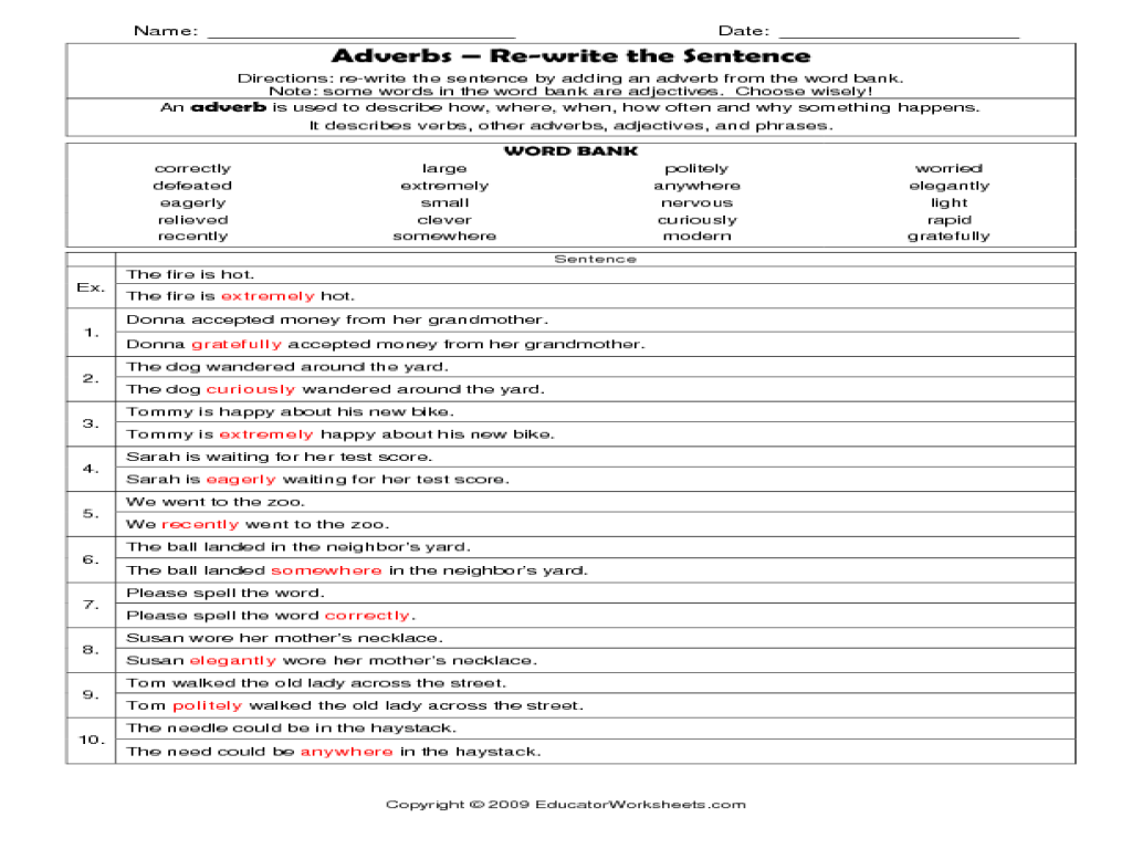 Adverbs - Rewrite the sentence Worksheet for 2nd - 4th Grade   Lesson Planet [ 768 x 1024 Pixel ]