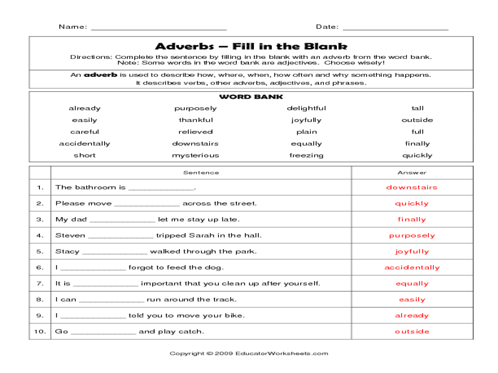 small resolution of Adverbs - fill in the blanks Worksheet for 2nd - 4th Grade   Lesson Planet