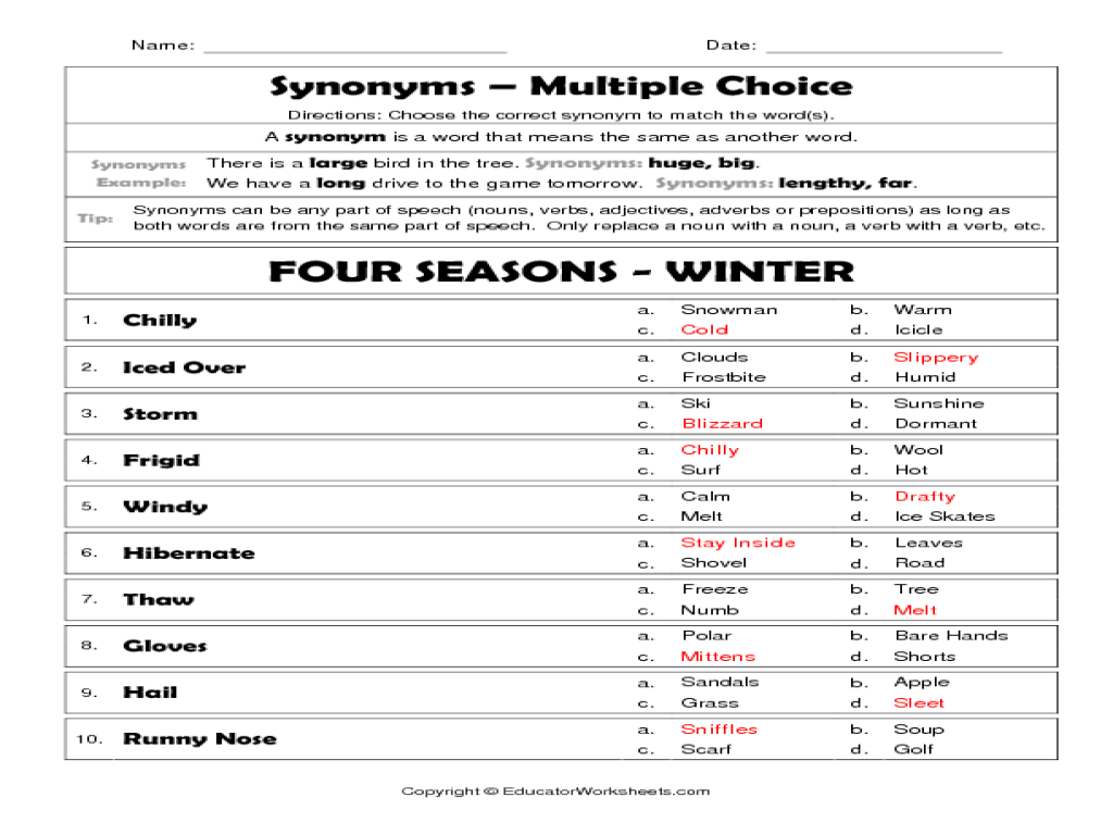 Synonyms - Multiple choice Worksheet for 2nd - 4th Grade   Lesson Planet [ 768 x 1024 Pixel ]