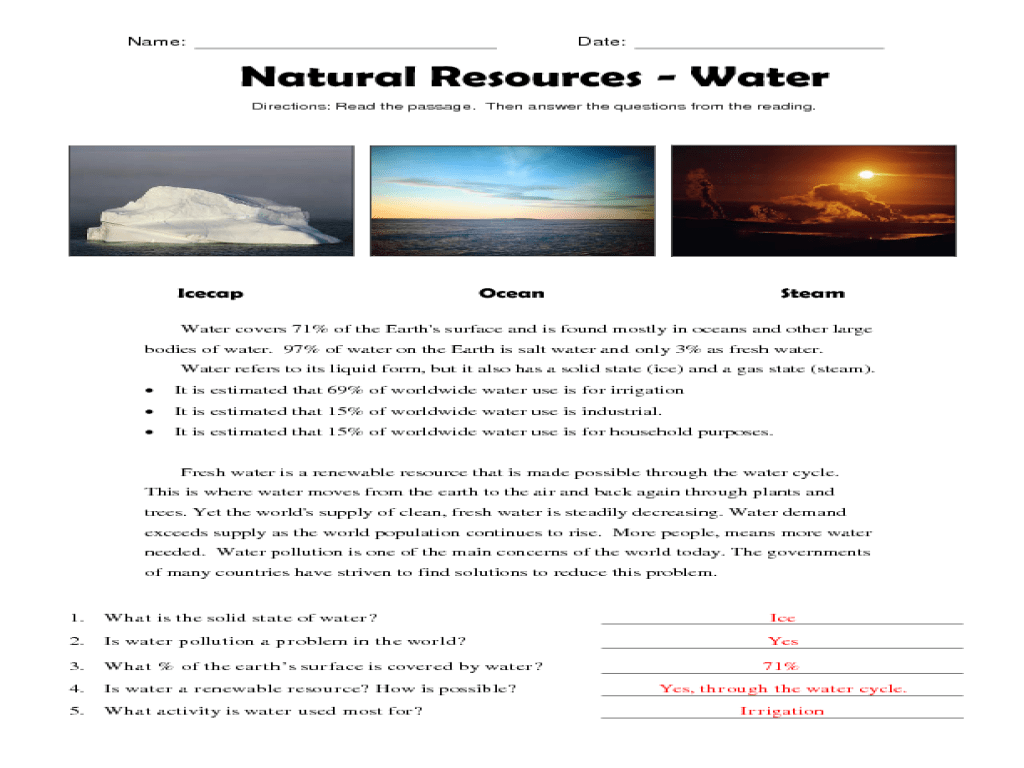 Reading Comprehension: Natural Resources - Water Worksheet for 3rd - 5th  Grade   Lesson Planet [ 768 x 1024 Pixel ]