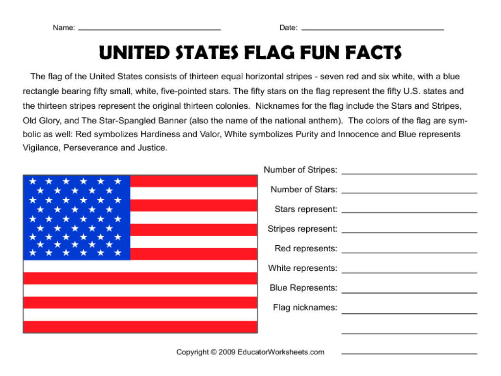 hight resolution of United States Flag Fun Facts Worksheet for 3rd - 5th Grade   Lesson Planet