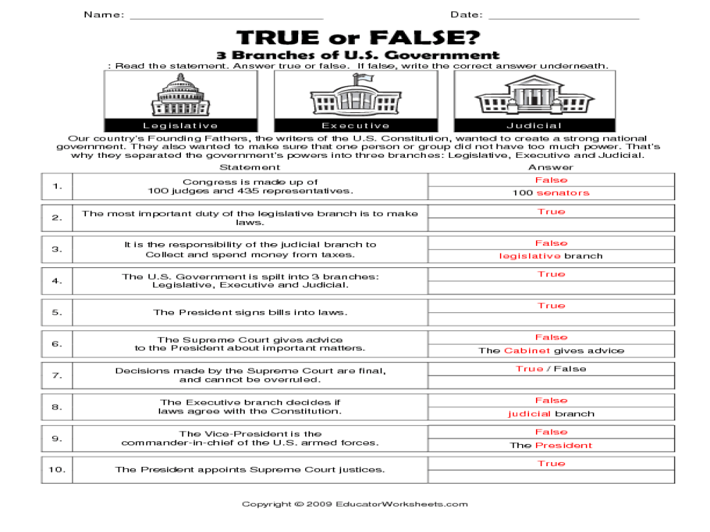 medium resolution of True or False?: 3 Branches of U.S. Government Worksheet for 6th - 8th Grade    Lesson Planet