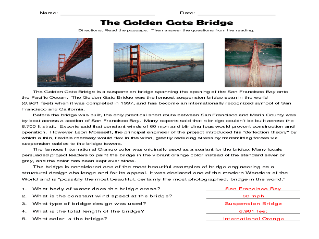 small resolution of Reading Comprehension: The Golden Gate Bridge Worksheet for 4th - 5th Grade    Lesson Planet
