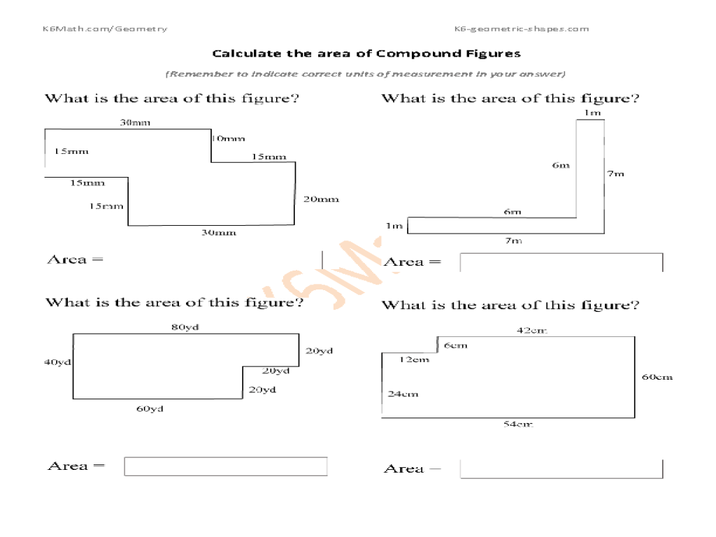 medium resolution of Calculate Area of Compound Figures Worksheet for 5th - 6th Grade   Lesson  Planet