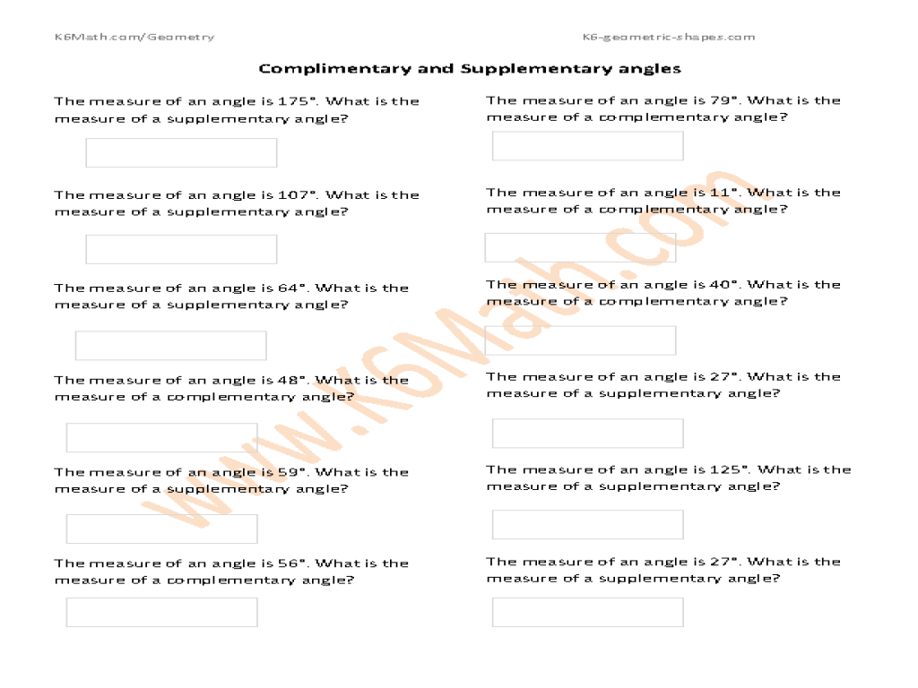 medium resolution of Complementary and Supplementary Angles #3 Worksheet for 4th - 6th Grade    Lesson Planet