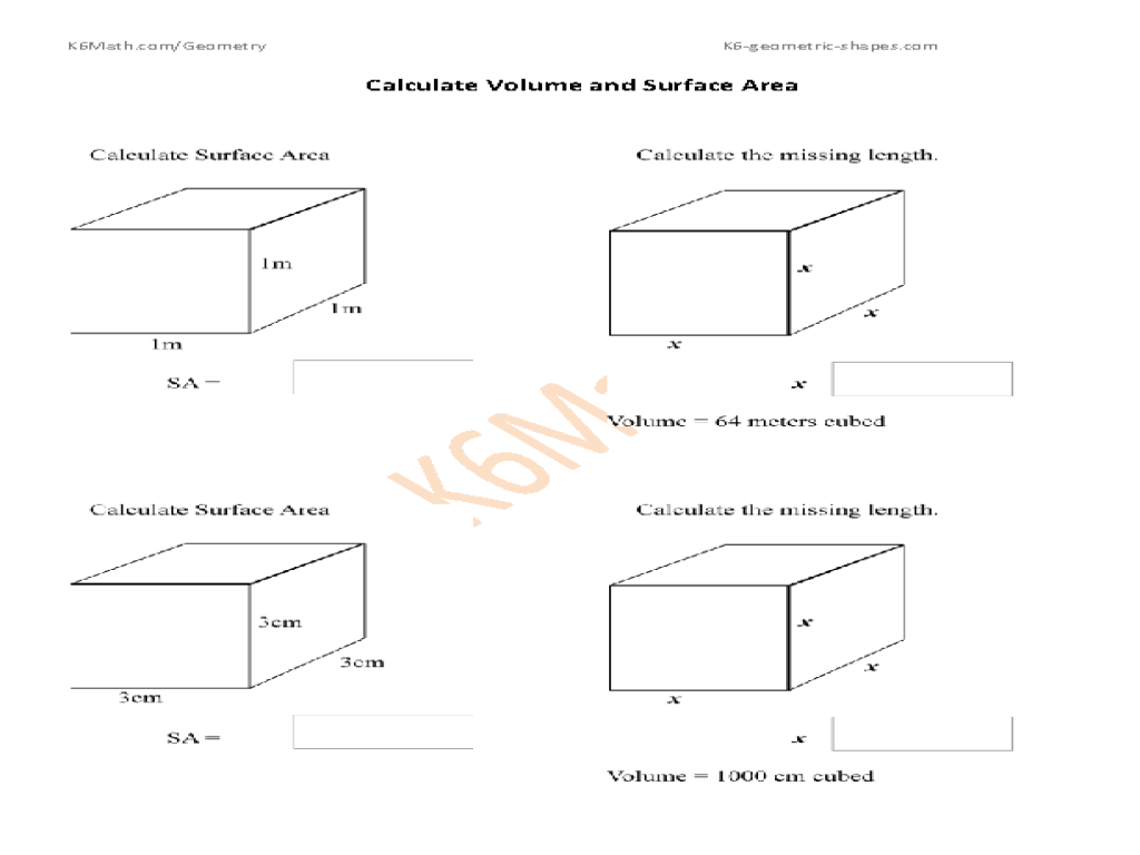 Calculate Volume and Surface Area: Cubes Worksheet for 7th - 10th Grade    Lesson Planet [ 768 x 1024 Pixel ]
