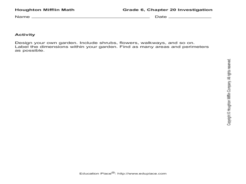 Houghton Mifflin Math: Grade 6 Chapter 20 Investigation Worksheet for 6th -  8th Grade   Lesson Planet [ 768 x 1024 Pixel ]