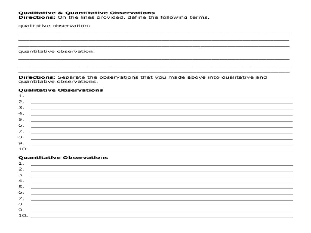 medium resolution of Qualitative Vs Quantitative Observations Worksheet - Nidecmege