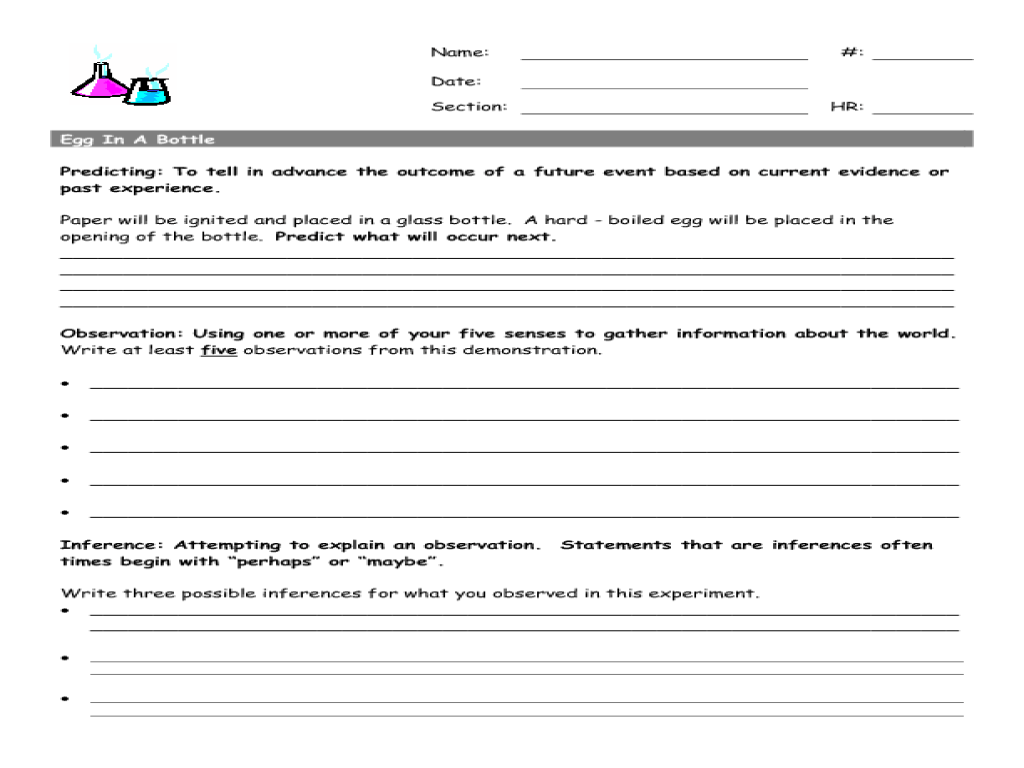 hight resolution of Egg In a Bottle Worksheet for 6th - 8th Grade   Lesson Planet