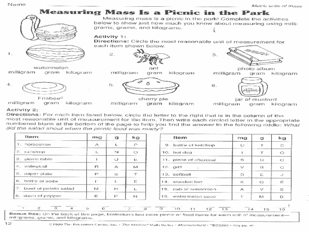 medium resolution of Measuring Mass is a Picnic in the Park Worksheet for 6th - 8th Grade    Lesson Planet