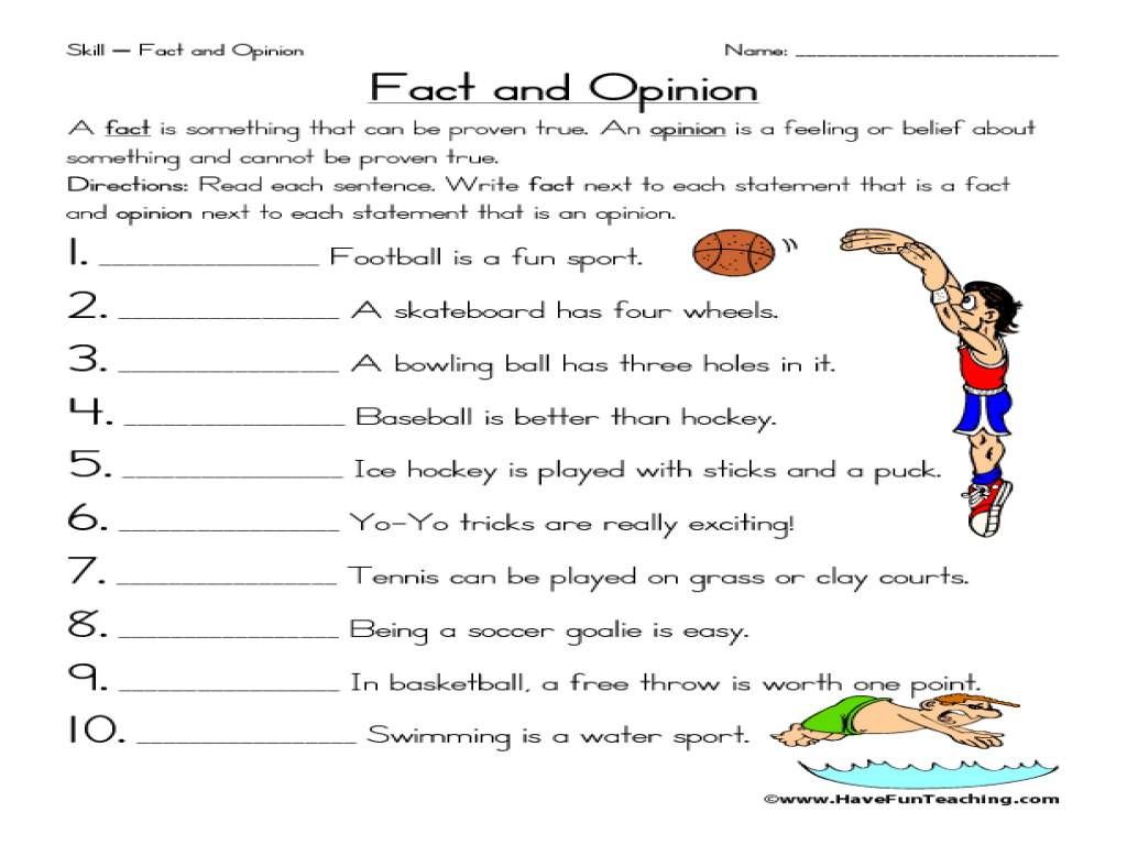Skill-Fact and Opinion Worksheet for 2nd - 3rd Grade   Lesson Planet [ 768 x 1024 Pixel ]