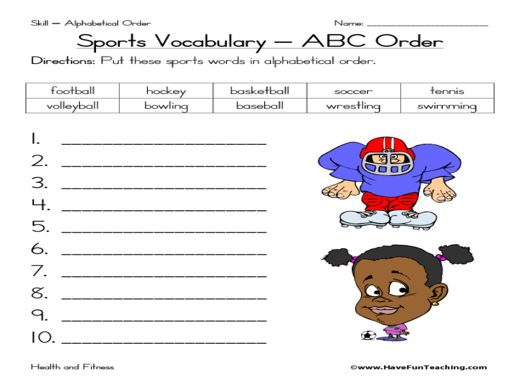Sports Vocabulary: ABC Order Worksheet for 2nd - 3rd Grade   Lesson Planet [ 768 x 1024 Pixel ]