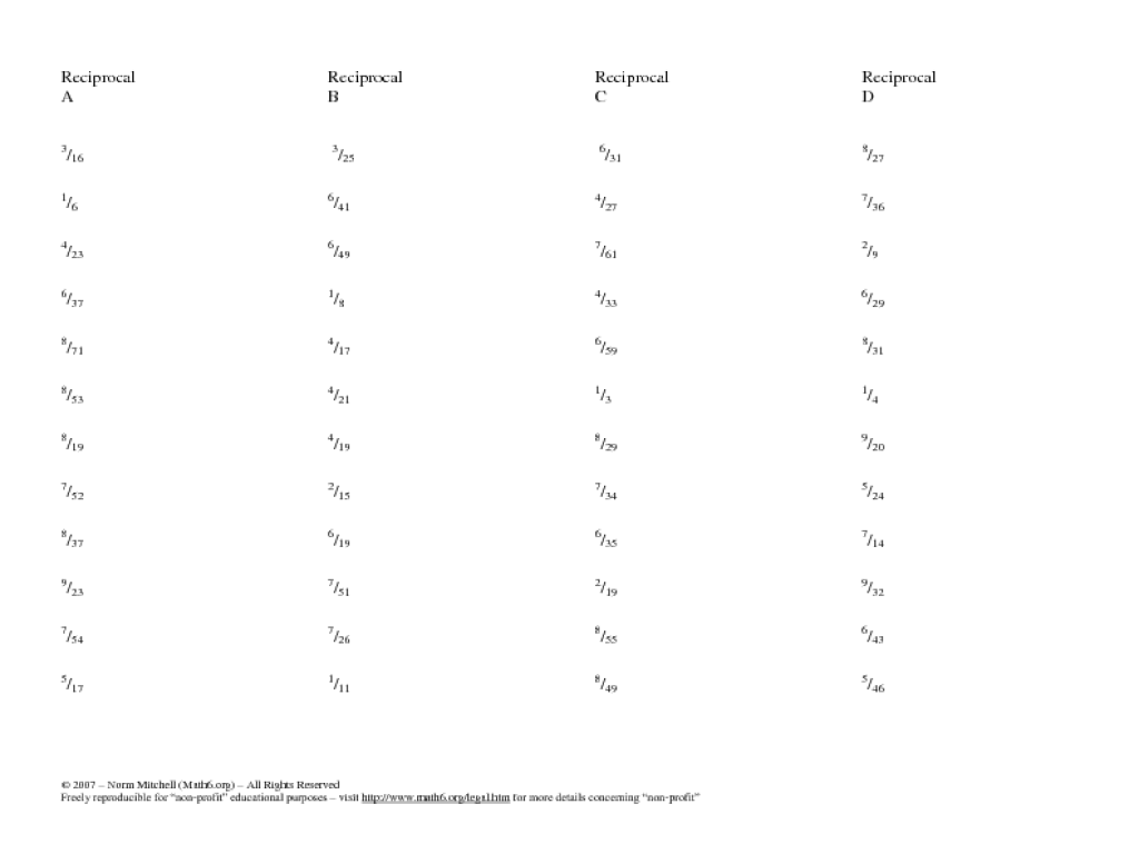 Mixed Numbers: Finding the Reciprocal Worksheet for 6th Grade   Lesson  Planet [ 768 x 1024 Pixel ]