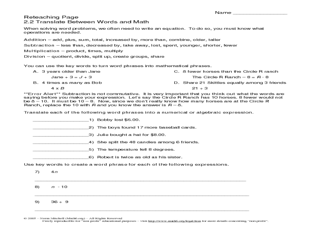 small resolution of Translate between words and math Worksheet for 4th - 6th Grade   Lesson  Planet