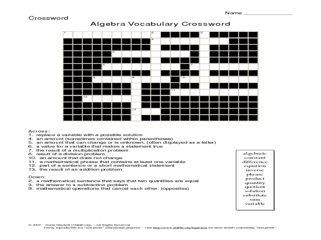 medium resolution of Algebra Vocabulary Crossword Worksheet for 5th - 6th Grade   Lesson Planet