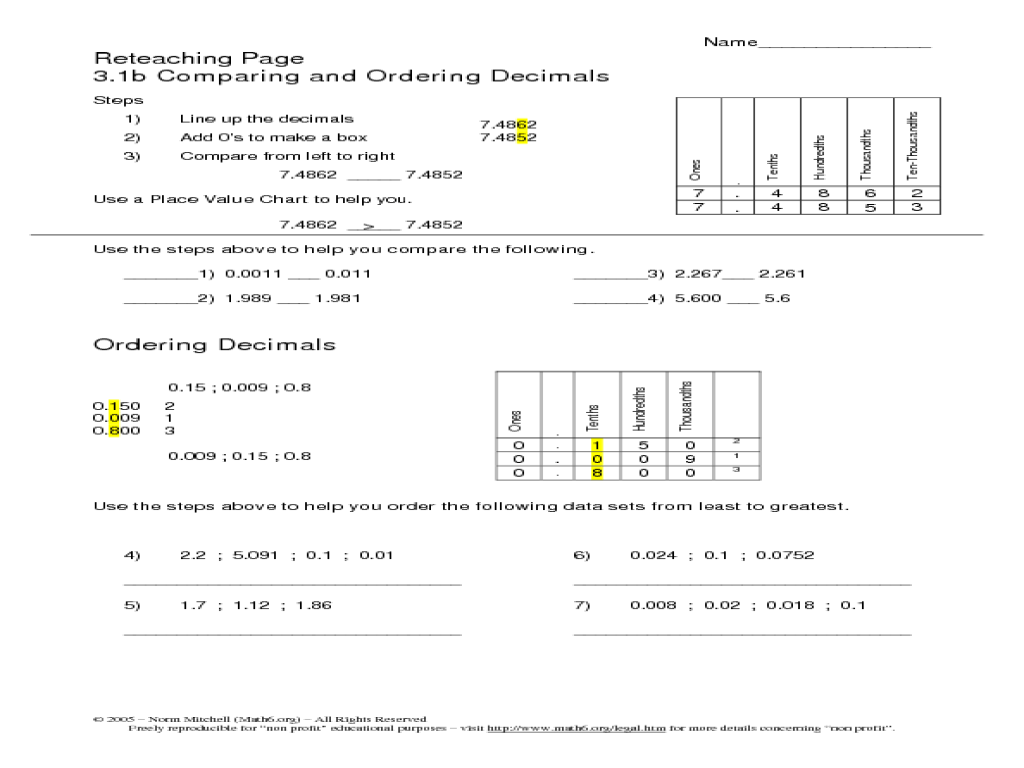 Reteaching Page - Comparing and Ordering Decimals Worksheet for 5th - 6th  Grade   Lesson Planet [ 768 x 1024 Pixel ]