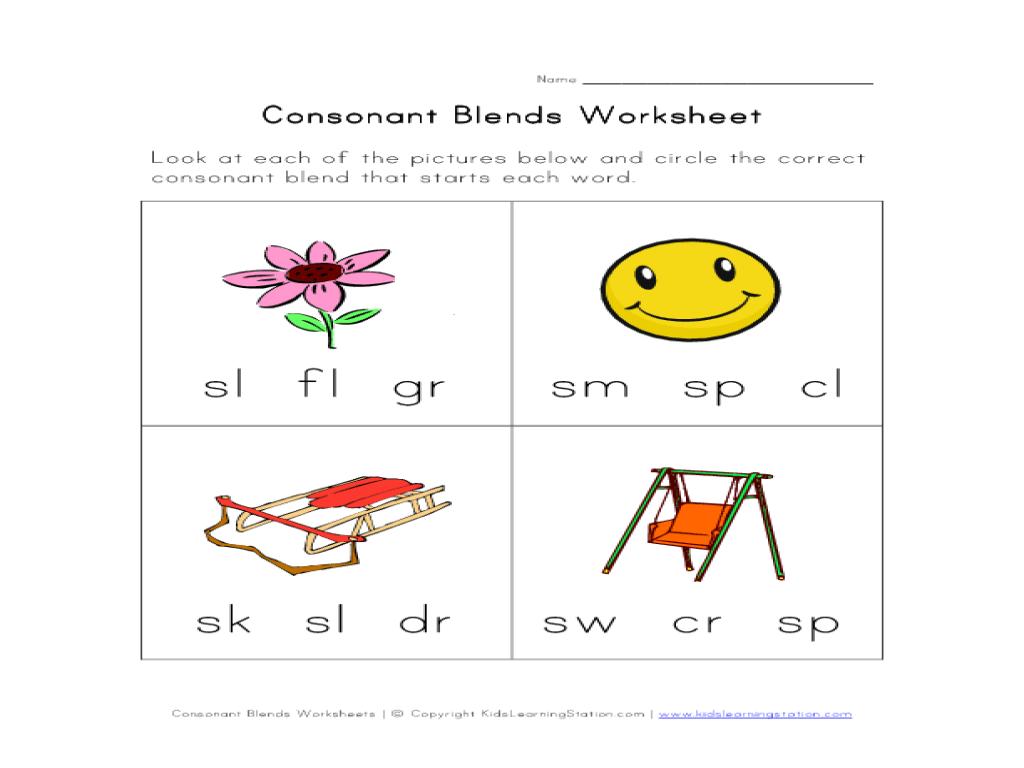 Consonant Blends Activity Worksheet for Kindergarten - 1st Grade   Lesson  Planet [ 768 x 1024 Pixel ]