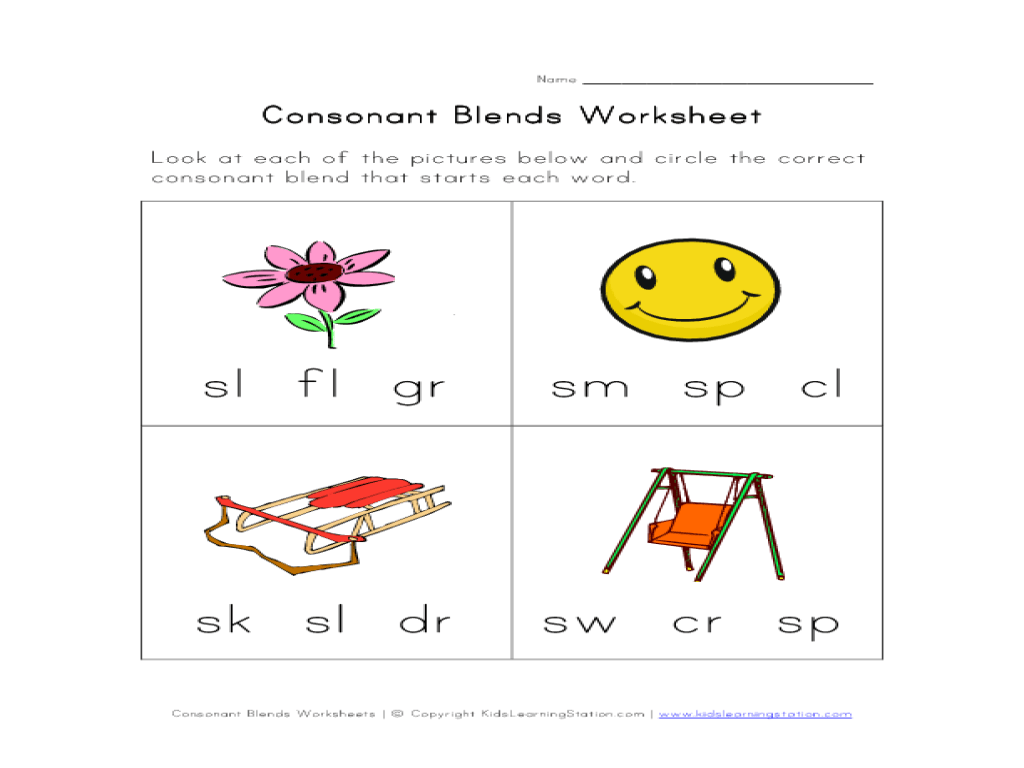 hight resolution of Consonant Blends Activity Worksheet for Kindergarten - 1st Grade   Lesson  Planet