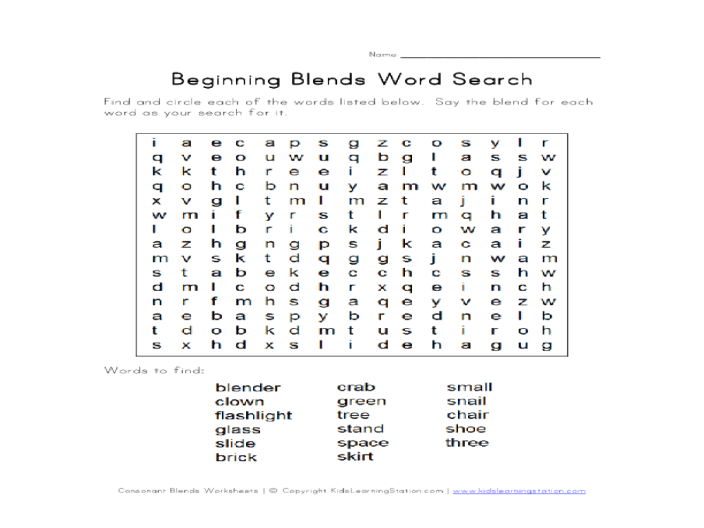 Beginning Blends Word Search #2 Worksheet for 1st - 2nd Grade   Lesson  Planet [ 768 x 1024 Pixel ]