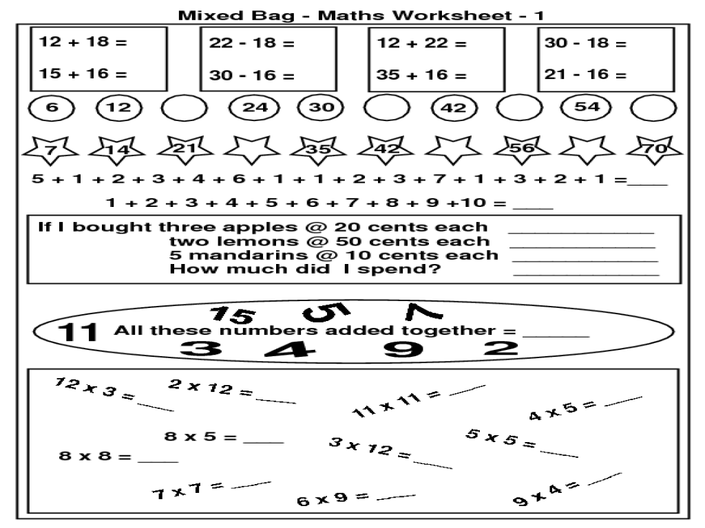 medium resolution of Mixed Bag Math Worksheet for 2nd - 3rd Grade   Lesson Planet