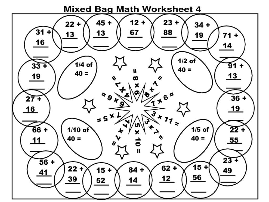 Mixed Bag Math Worksheet 4 Worksheet for 4th - 5th Grade   Lesson Planet [ 768 x 1024 Pixel ]