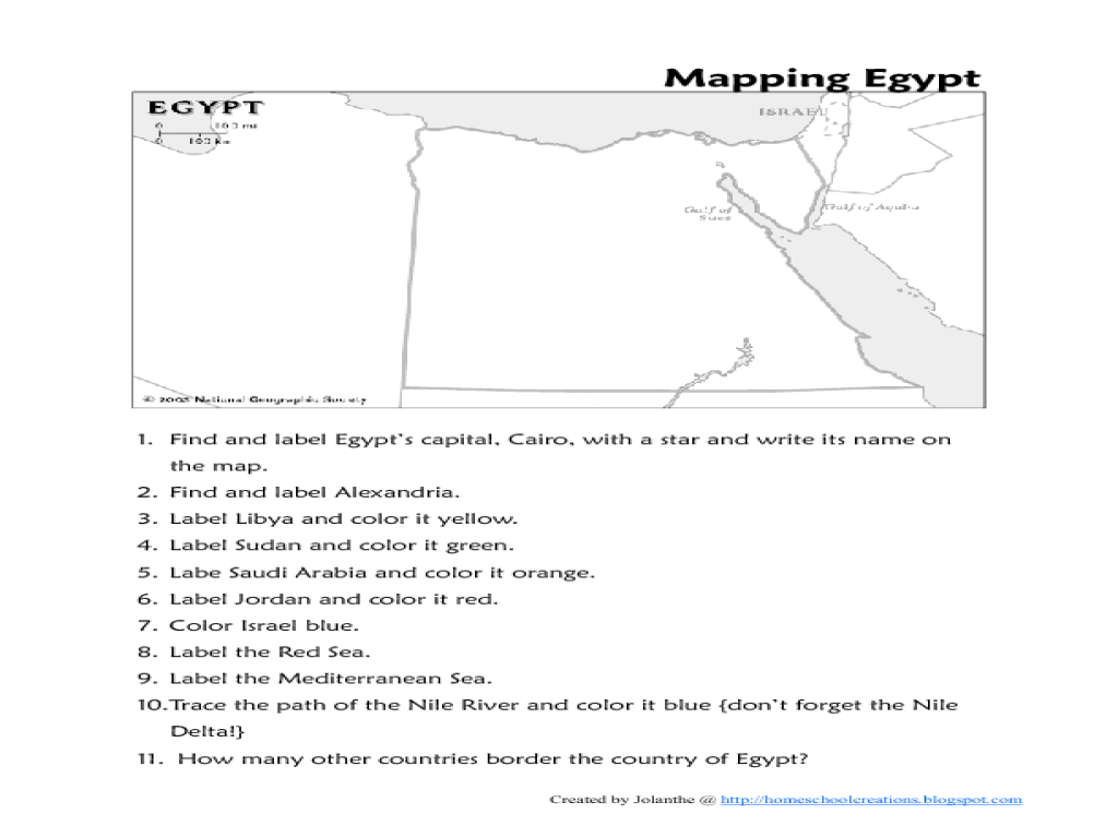 Map of Egypt Worksheet for 4th - 6th Grade   Lesson Planet [ 768 x 1024 Pixel ]