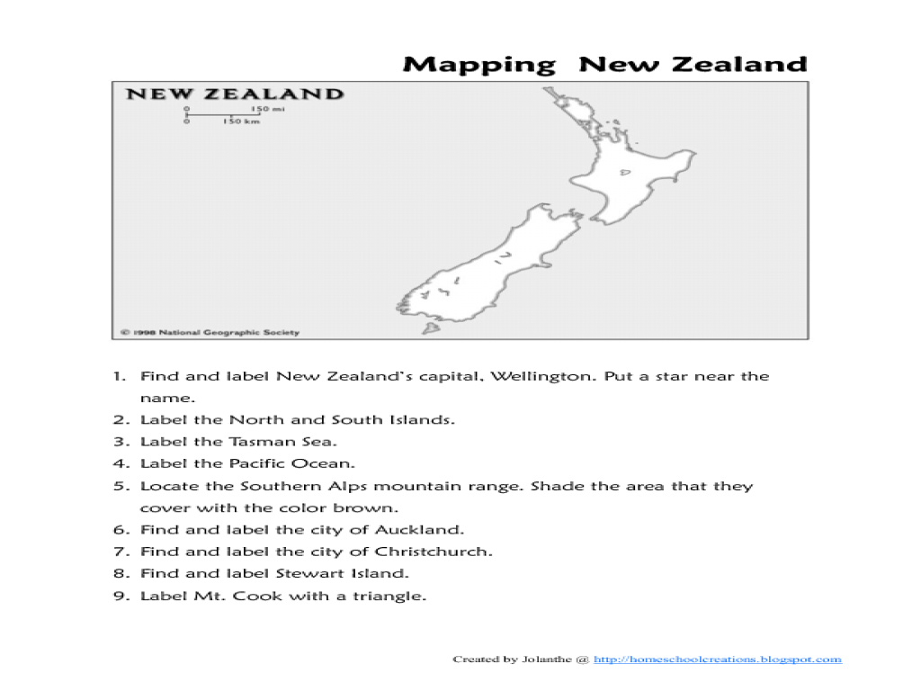 Mapping New Zealand Worksheet for 2nd - 6th Grade   Lesson Planet [ 768 x 1024 Pixel ]