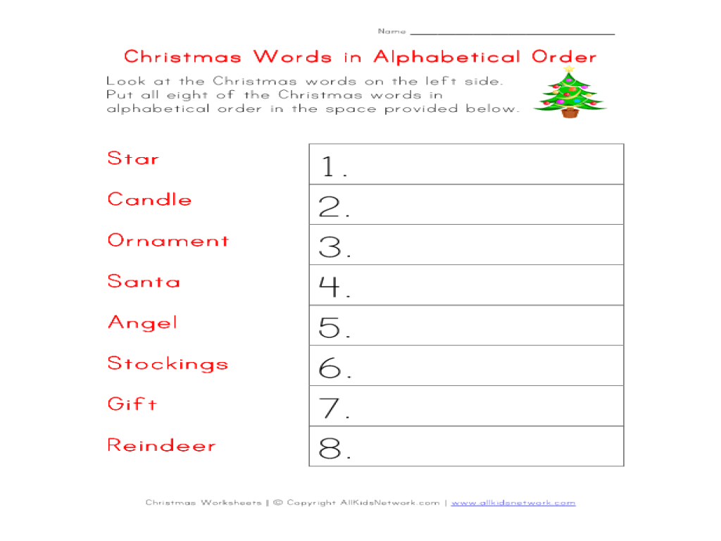 Christmas Words in Alphabetical Order Worksheet for 2nd - 3rd Grade    Lesson Planet [ 768 x 1024 Pixel ]