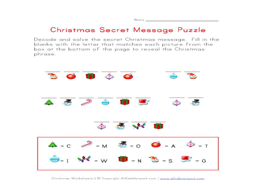 Christmas Secret Message Puzzle Worksheet for 1st - 2nd Grade   Lesson  Planet [ 768 x 1024 Pixel ]