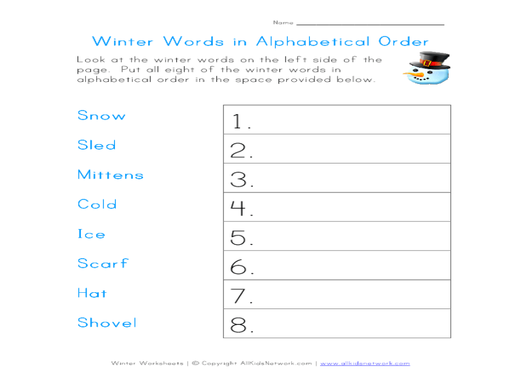 small resolution of Winter Words in Alphabetical Order Worksheet for 1st - 2nd Grade   Lesson  Planet