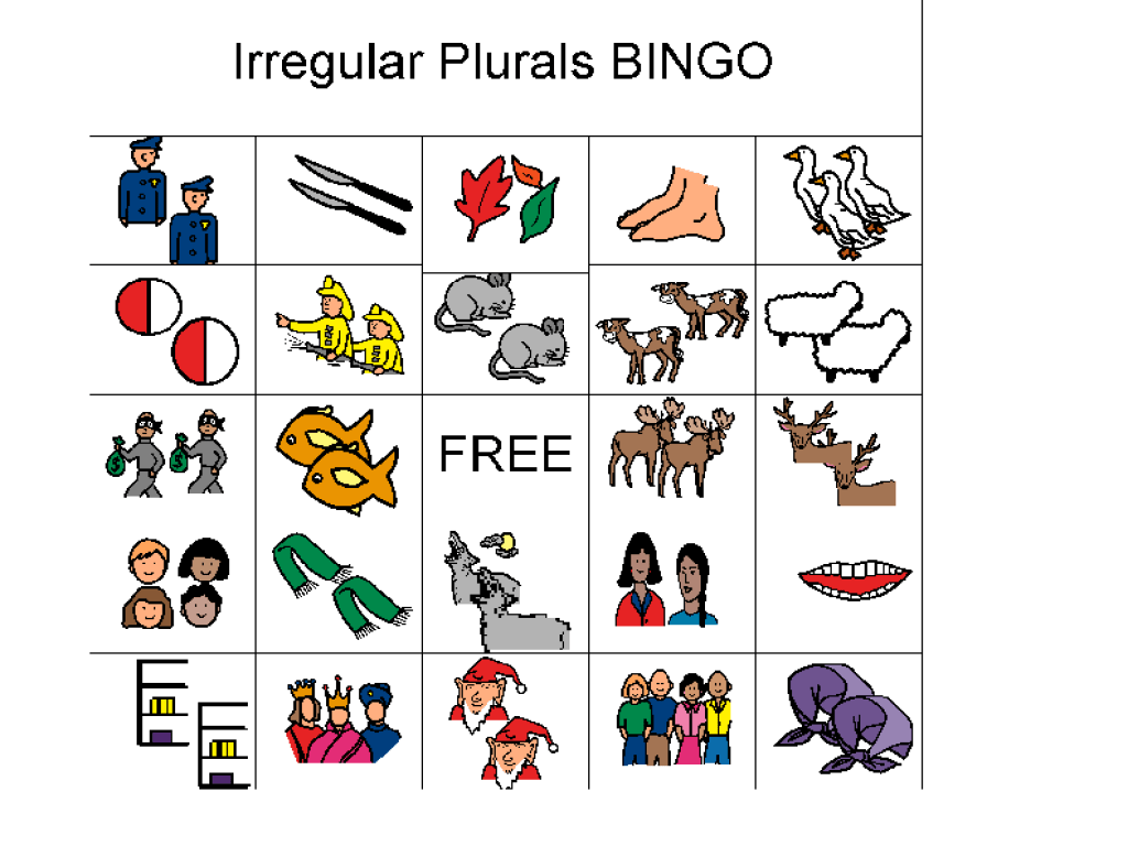 small resolution of Irregular Plurals: Bingo Worksheet for 1st - 4th Grade   Lesson Planet