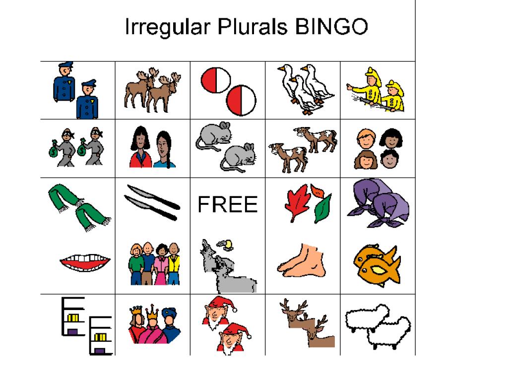 Speech Practice; Irregular Plurals Bingo Graphic Organizer for 2nd - 4th  Grade   Lesson Planet [ 768 x 1024 Pixel ]