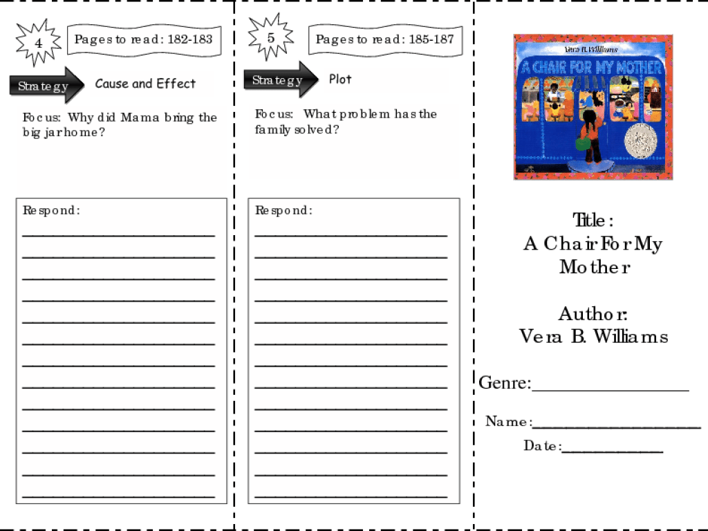A Chair For My Mother: comprehension skills Worksheet for 2nd - 4th Grade    Lesson Planet [ 768 x 1024 Pixel ]