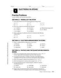 Electrons in Atoms Worksheet for 9th - Higher Ed | Lesson ...