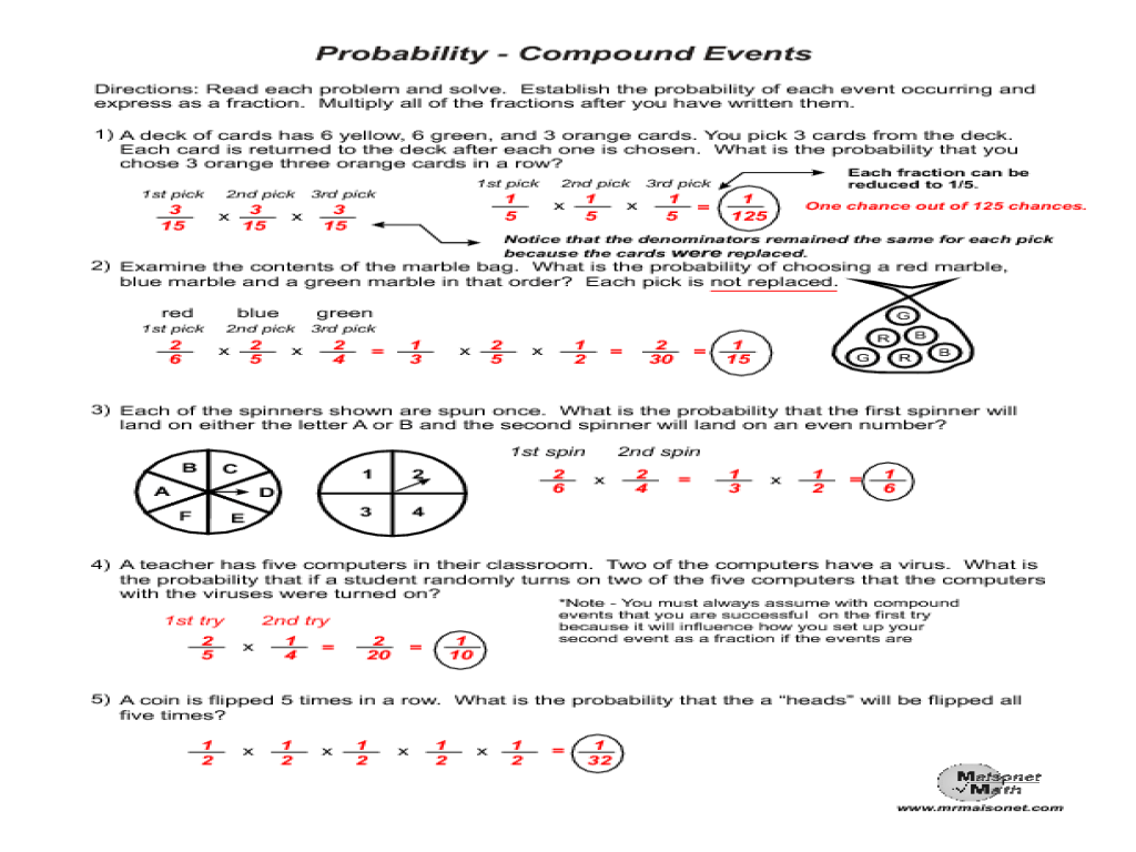 hight resolution of Probability - Compound Events Worksheet for 7th - 9th Grade   Lesson Planet