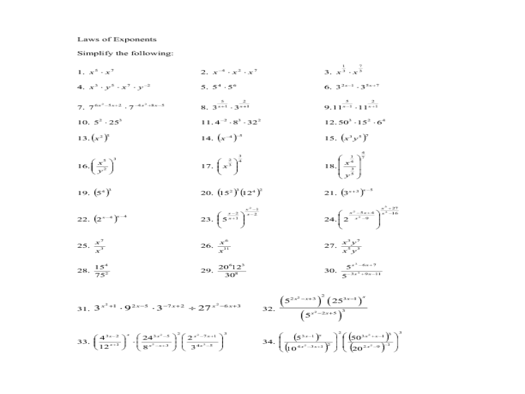 hight resolution of Thirty-Four Simplify Using The Laws of Exponents Worksheet for 10th - 12th  Grade   Lesson Planet