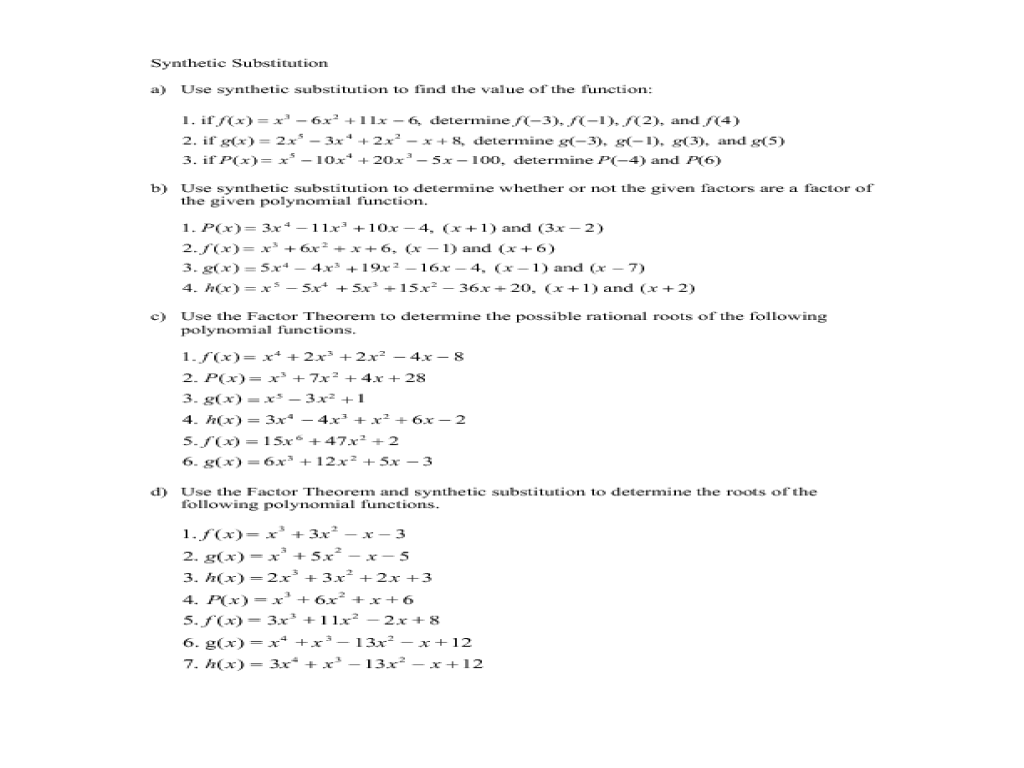 Using Synthetic Substitution and The Factor Theorem to determine Factors of  Polynomials Worksheet for 10th - 12th Grade   Lesson Planet [ 768 x 1024 Pixel ]