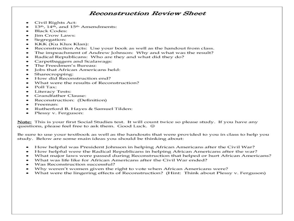 Rec Structi Review Sheet W Ksheet 8th 12th Gr De