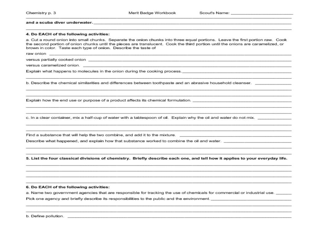 medium resolution of Chemistry: merit badge Worksheet for 5th - 10th Grade   Lesson Planet