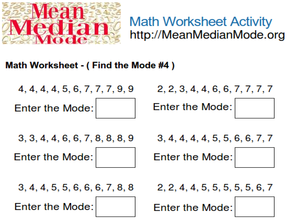 Find the Mode Worksheet #4 Worksheet for 5th Grade   Lesson Planet [ 768 x 1024 Pixel ]