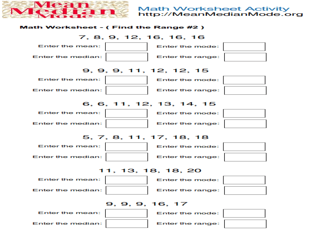 Find the Range #2 Worksheet for 4th - 6th Grade   Lesson Planet [ 768 x 1024 Pixel ]