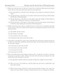 Entropy Worksheet for 10th - Higher Ed | Lesson Planet