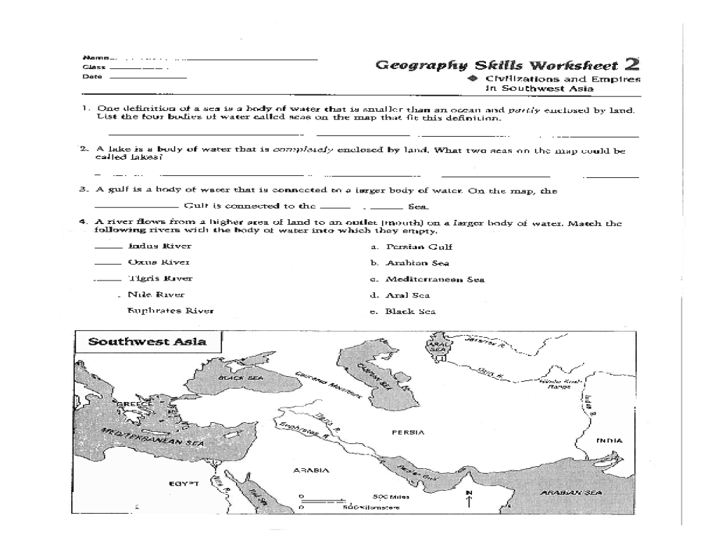 Geography Skills Worksheet: Civilizations and Empires in Southwest Asia  Worksheet for 6th - 8th Grade   Lesson Planet [ 768 x 1024 Pixel ]